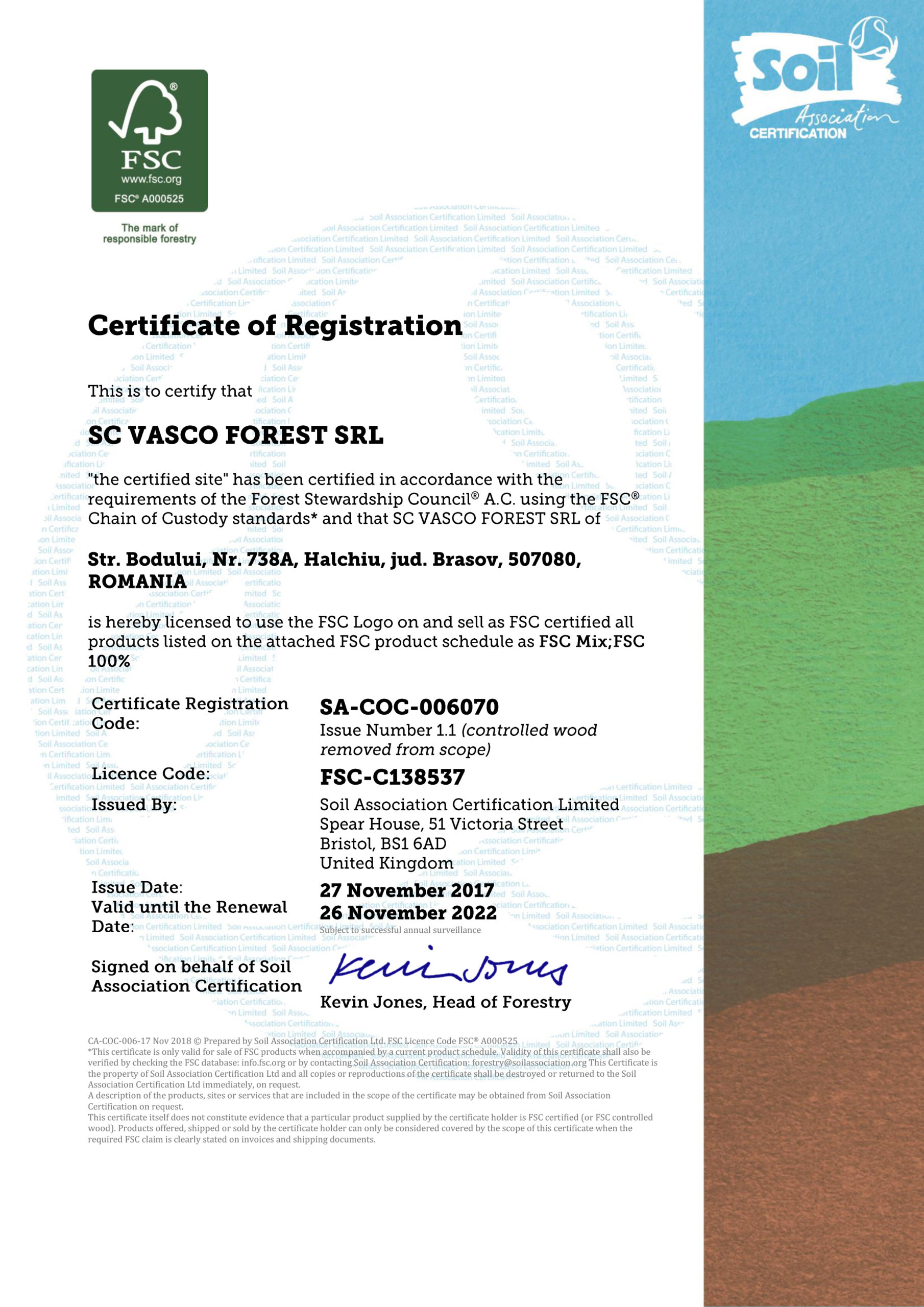 FSC Certificate of Vasco